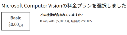 Computer Visionの料金プラン1