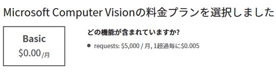 Computer Visionの料金プラン1